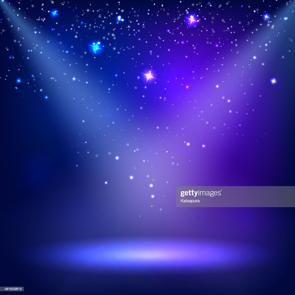 Blue a scenic with spotlight background. Vector illustrations