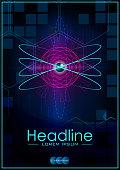 Blue A4 HUD Business Book Cover Design Template. Good for Portfolio, Brochure, Annual Report, Flyer, Magazine, Academic Journal. Atom. Vector EPS10.