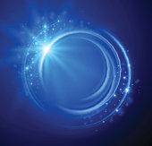 Blue abstract background with a swirl and sparkles