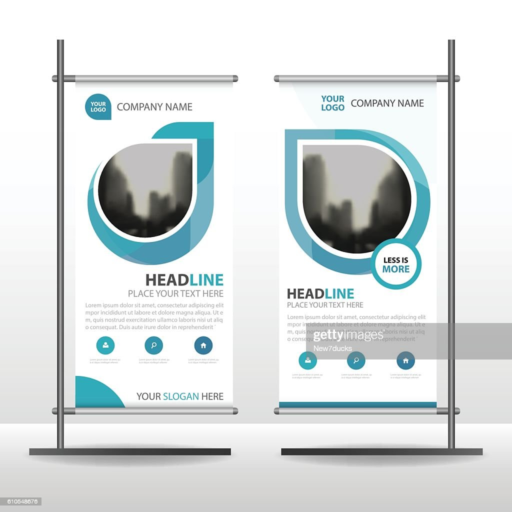 Blue Abstract Business Roll Up Banner flat design template Abstract