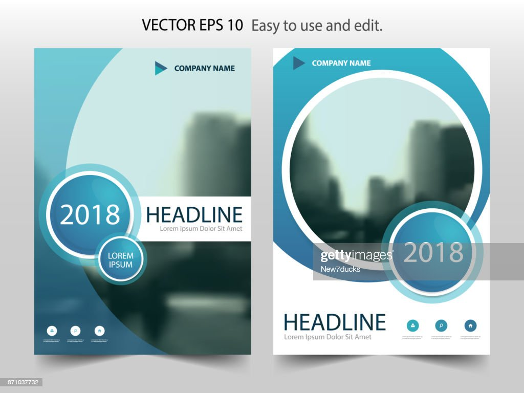 Blue abstract circle Brochure flyer annual report design template vector