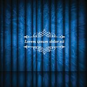 Blue abstract curtains and vintage border frame with copy space for text