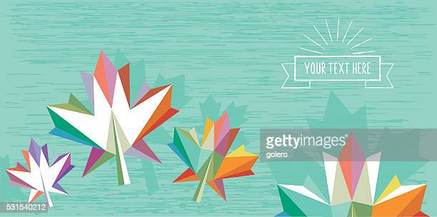 blue abstract flat colorful fall illustration with vintage badge - maple leaf stock illustrations
