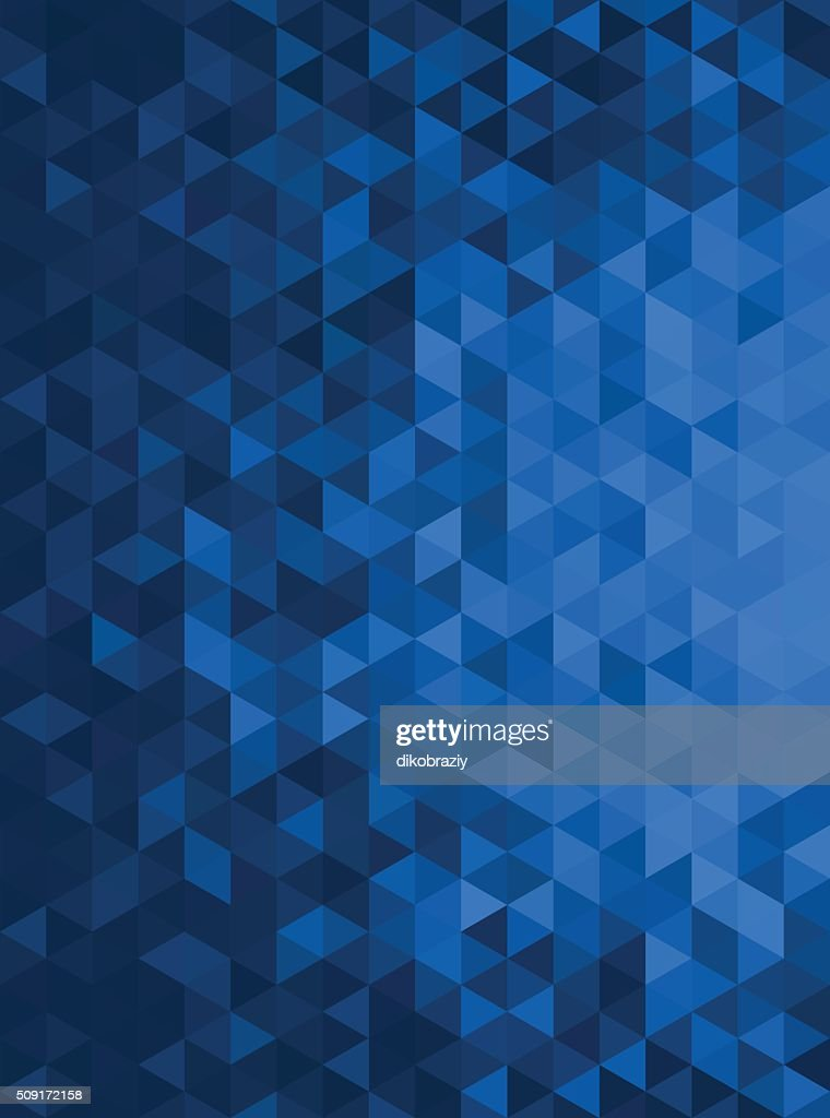 Blue Abstract Geometric Triangle Vertical Background - Vector Illustration