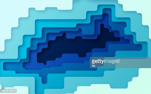ilustraciones, imágenes clip art, dibujos animados e iconos de stock de fondo de capas abstracto azul - compuesto digital