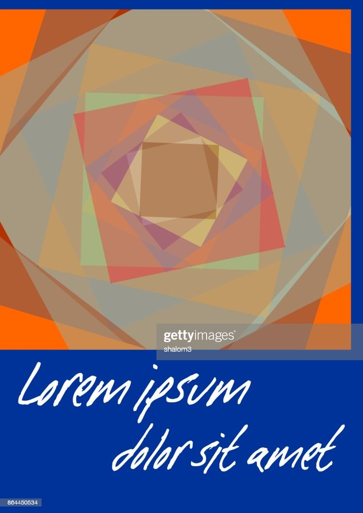 Blue abstract poster template. Flyer with orange polygonal patterns on dark blue background, leaflet or book cover design with place for own text