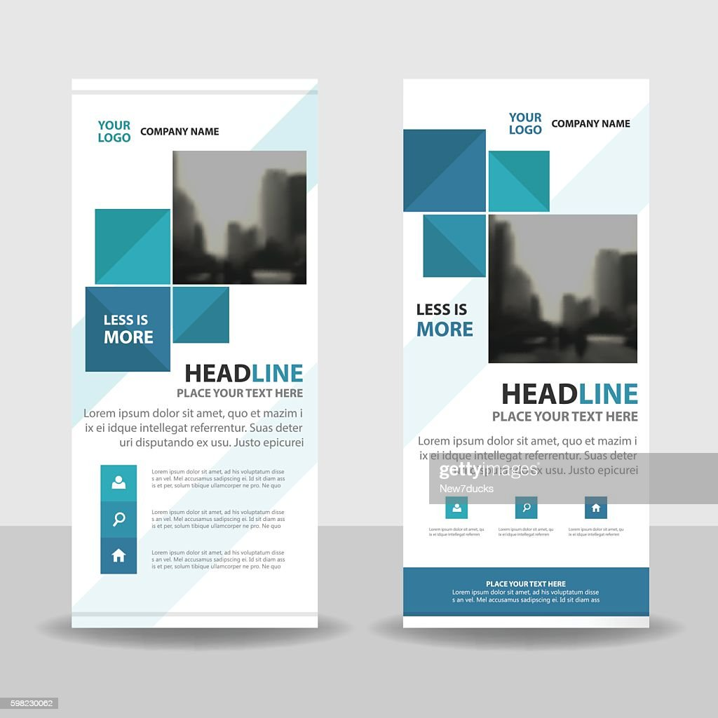 Blue Abstract square Business Roll Up Banner flat design template