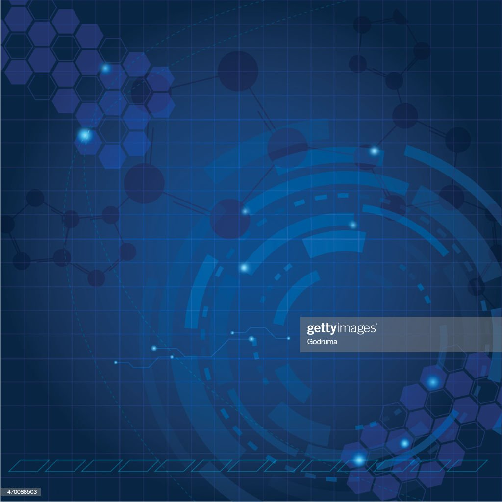 A blue abstract tech background with lighter designs