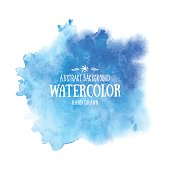 Blue abstract watercolor background. Hand drawn watercolor stains