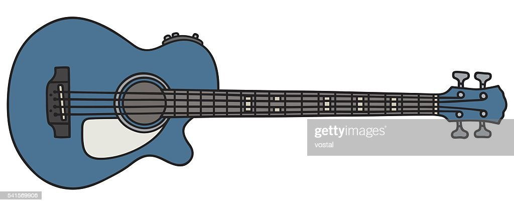 Blue acoustic bass guitar