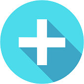Blue Add plus icon in flat style with long shadow