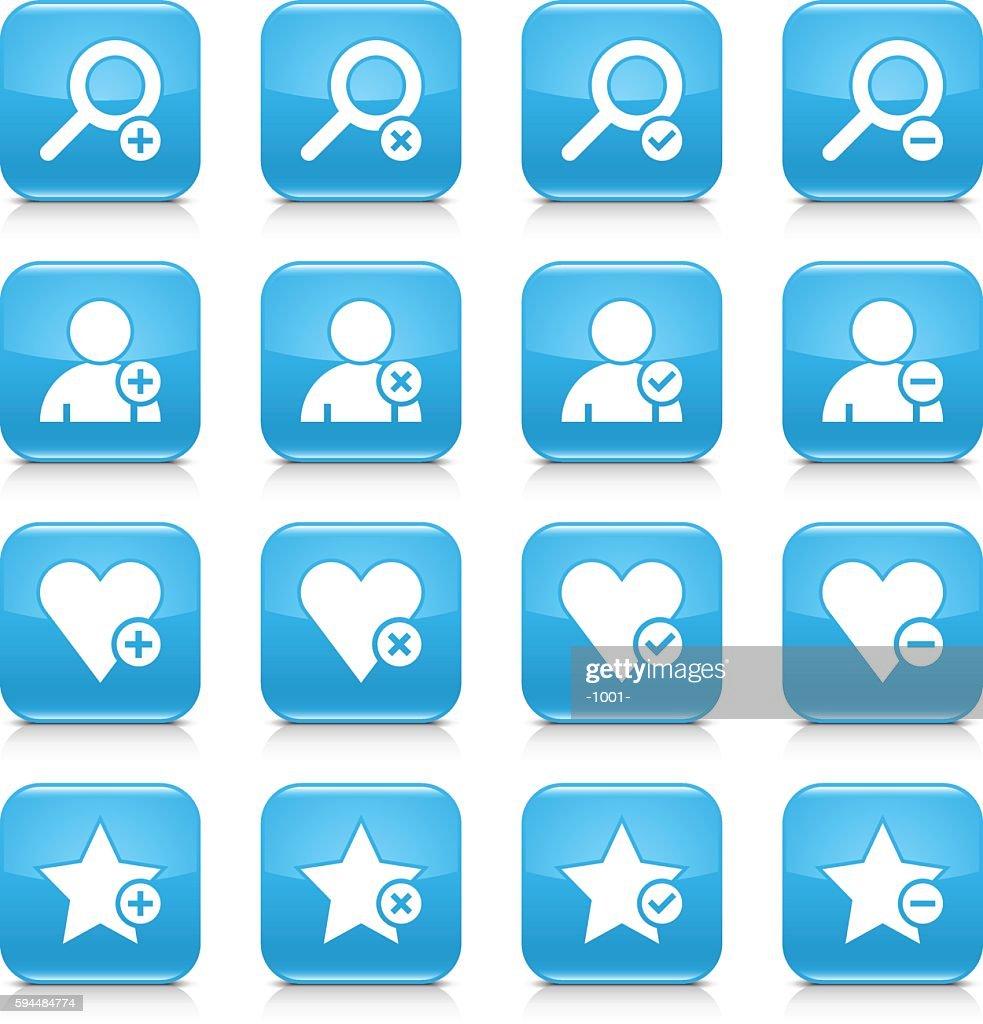 Blue additional sign square icon web button