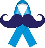 blue, against prostate cancer, blue ribbon with a mustache