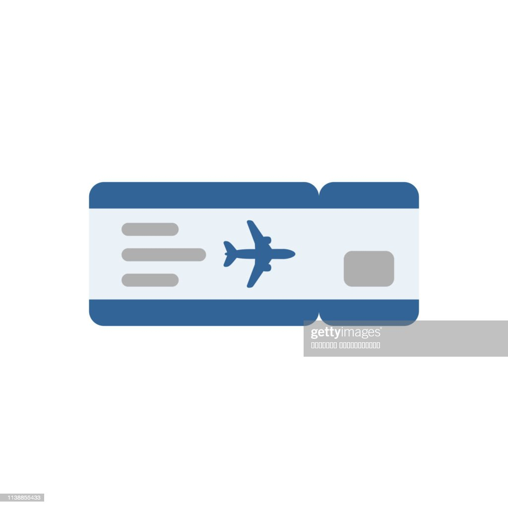 Blue air ticket illustration in flat style