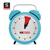 Blue Alarm Clock Vector Illustration