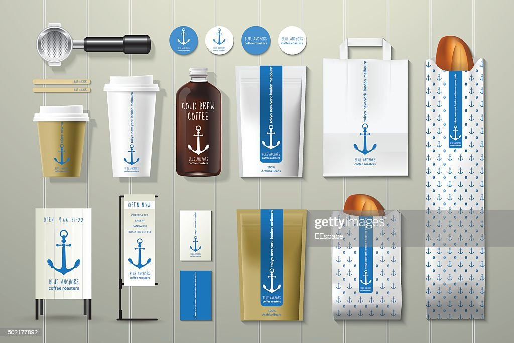 Blue anchors coffee shop corporate identity template design set