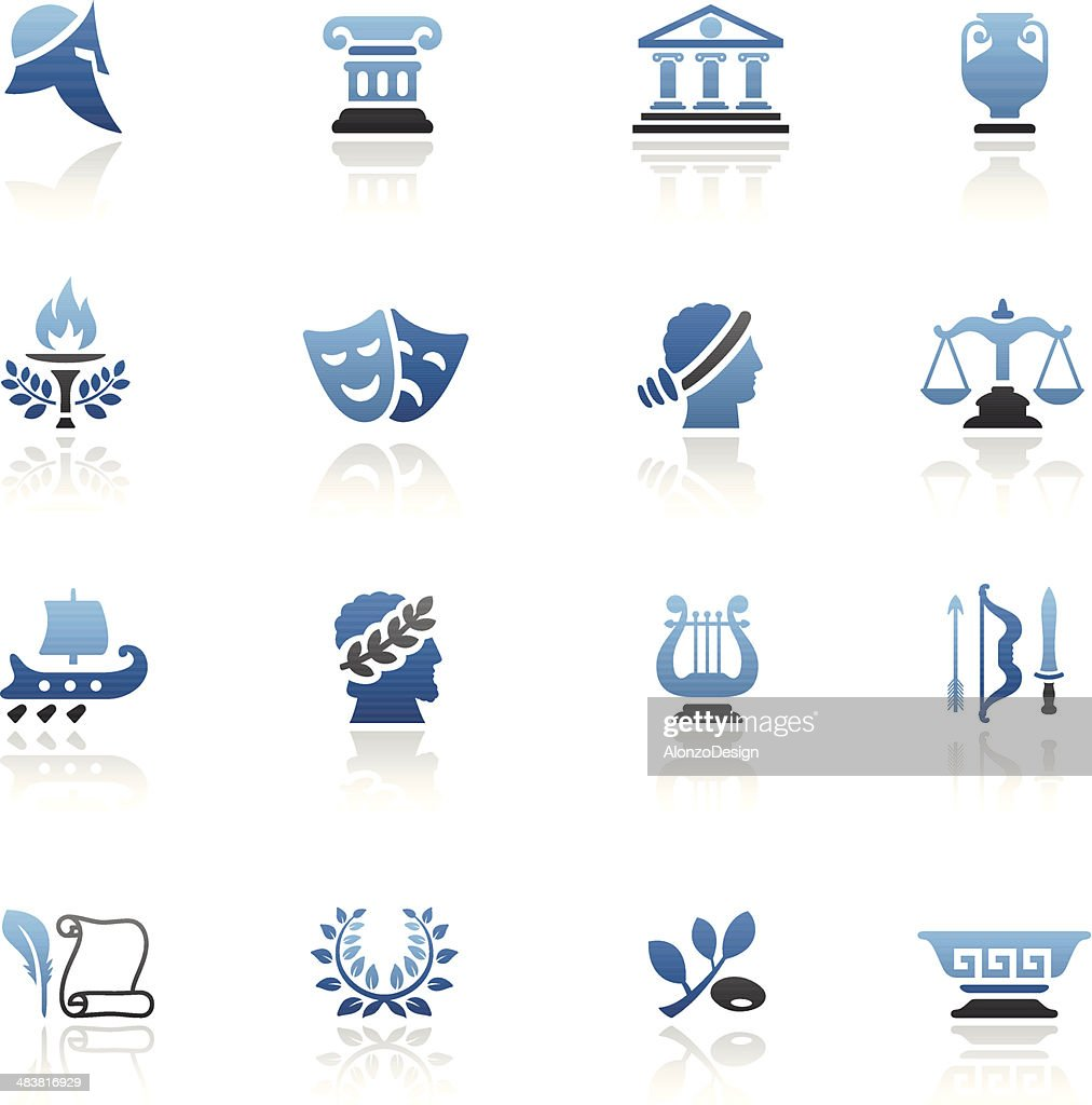 Blue Ancient Greece Icon Set
