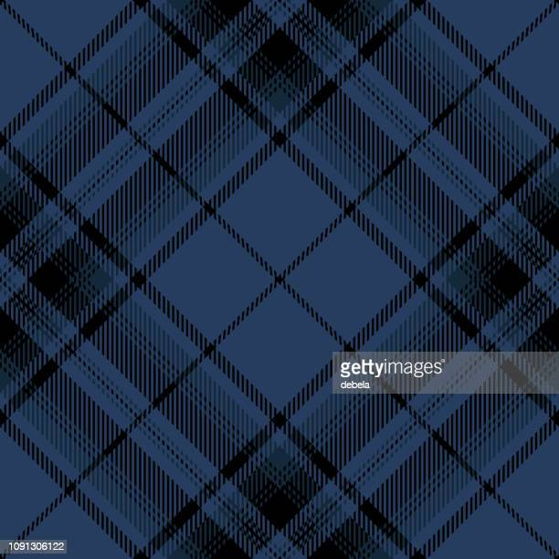 Blue And Black Scottish Tartan Plaid Textile Pattern