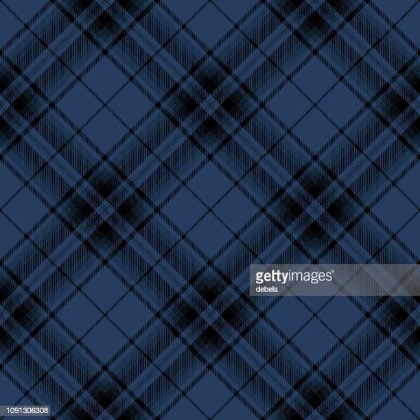 Blue And Black Scottish Tartan Plaid Textile Pattern