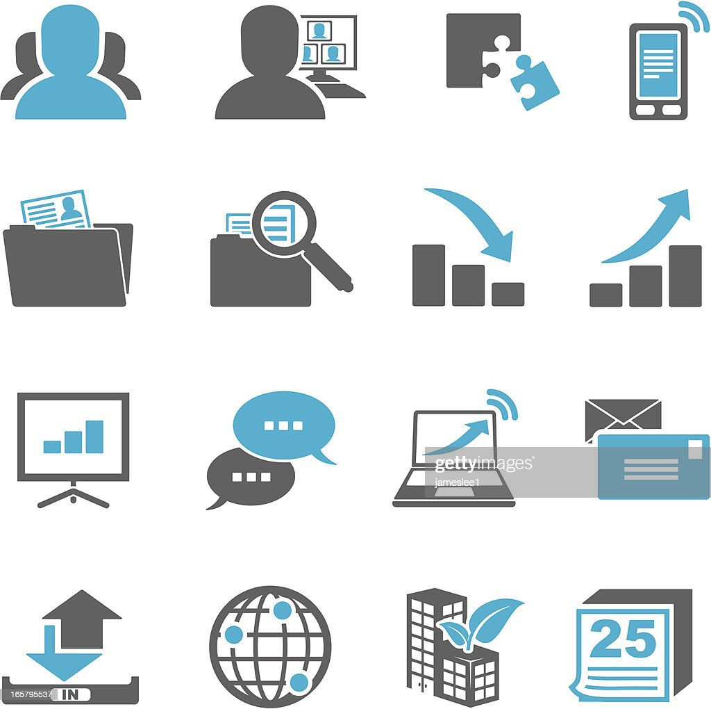 Blue and gray business icons on a white background