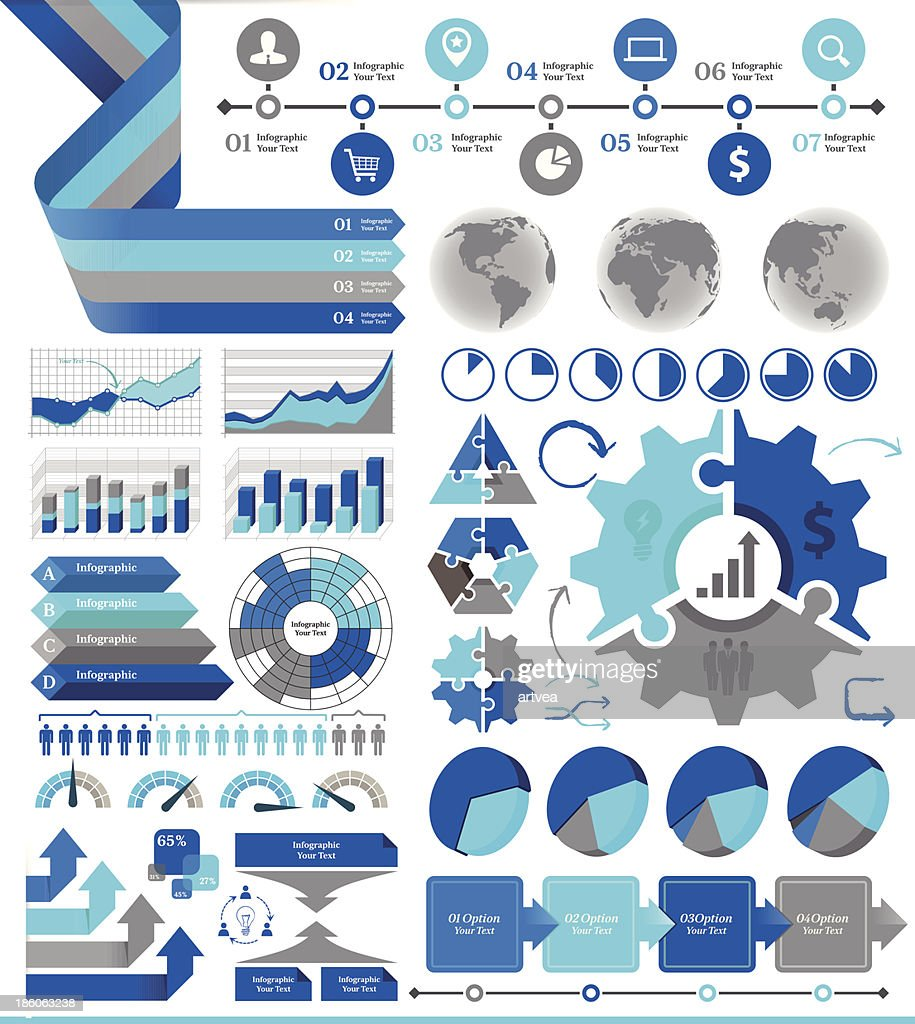 Blue and gray business infographic
