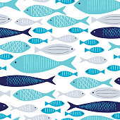 Blue and Gray Fishes Seamless Pattern with White Background.