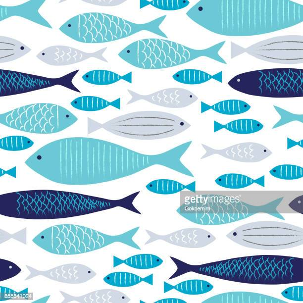 blue and gray fishes seamless pattern with white background. - mammal stock illustrations