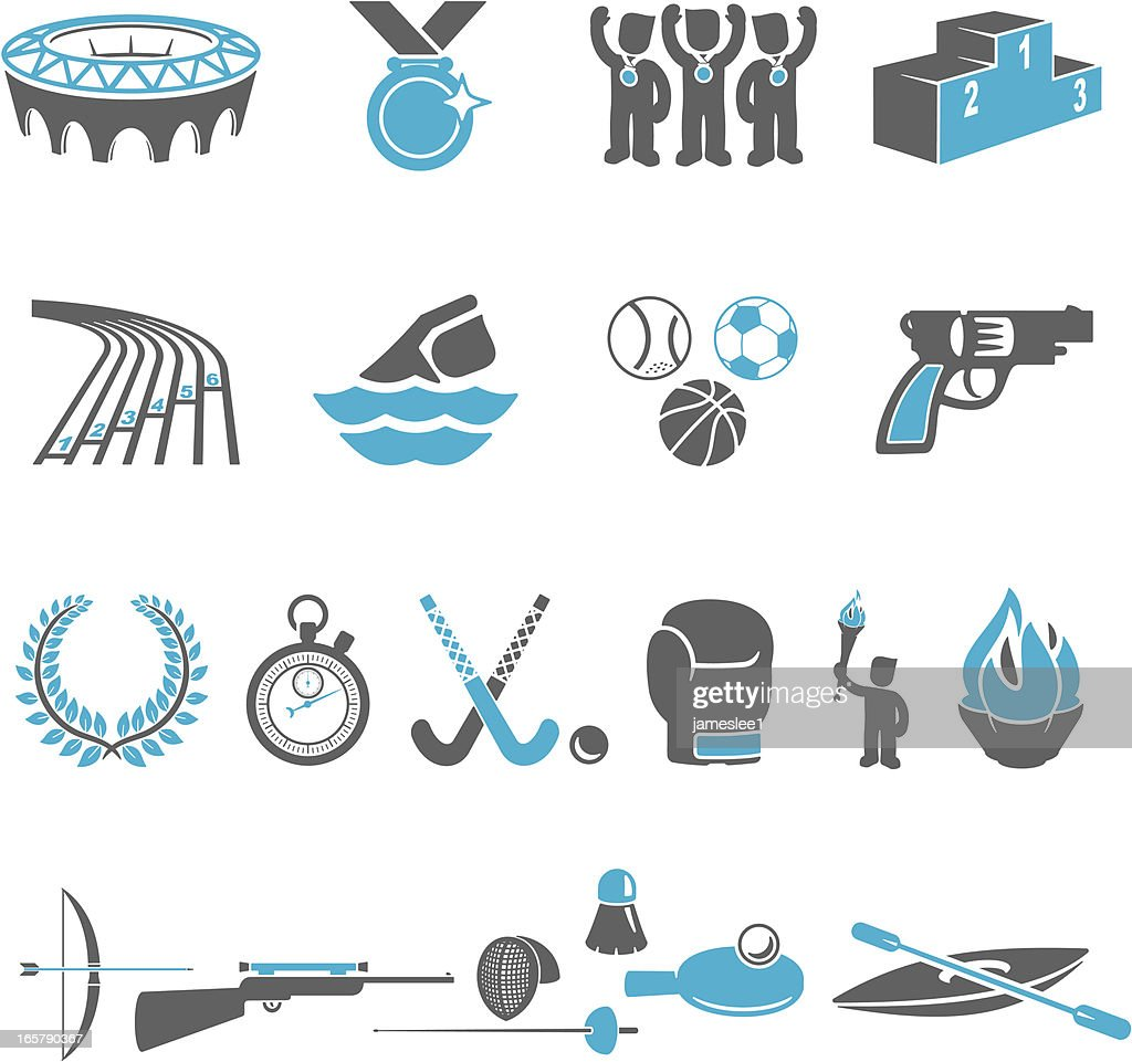 Blue and gray Olympic sports icons