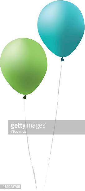 blue and green balloons