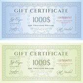Blue and green certificates each worth one thousand dollars