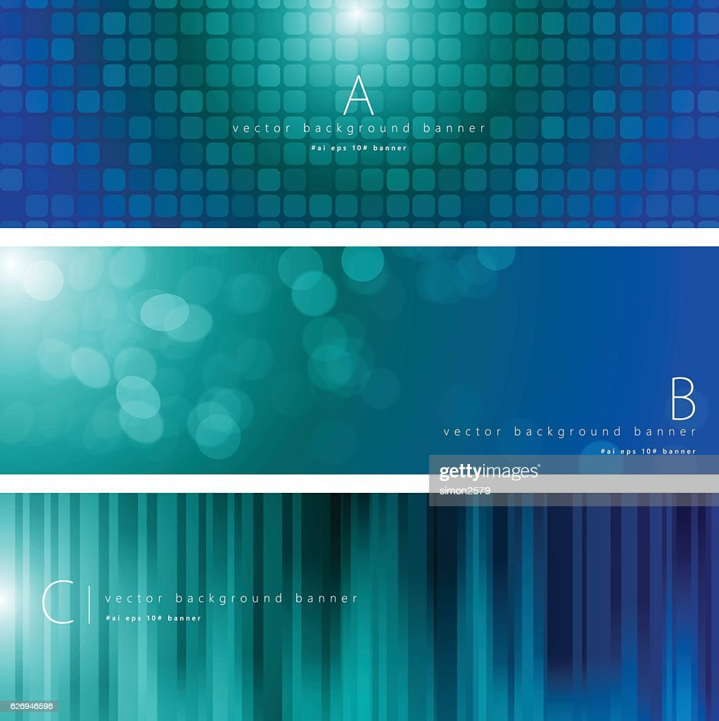 Blue and green color pattern background banner set