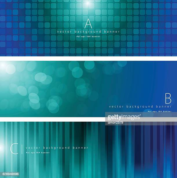 ilustrações, clipart, desenhos animados e ícones de blue and green color pattern background banner set - vertical