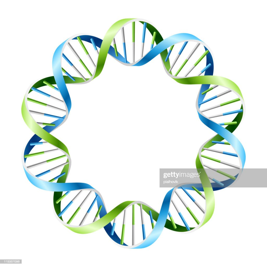 Blue and green DNA strand wreath