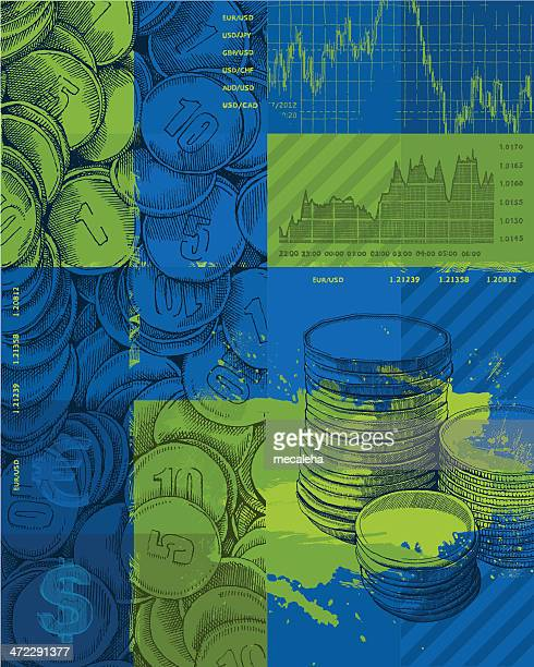 Blue and green finance background with graphs and coins