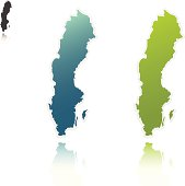 Blue and green maps of Sweden on a white background
