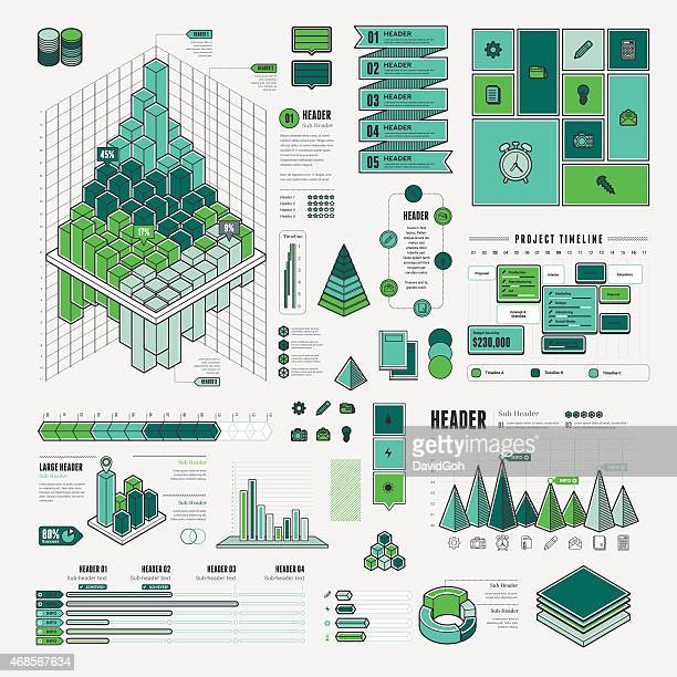 Blue and green project management graphics