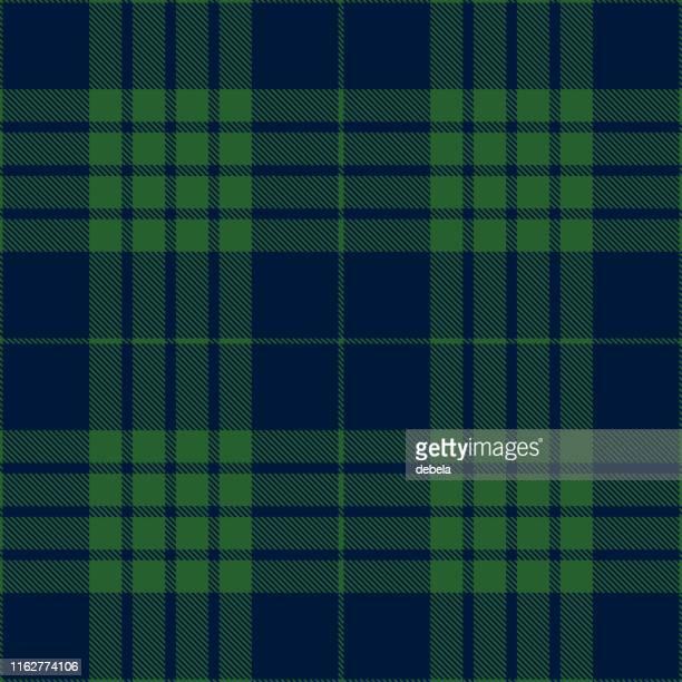 blue and green scottish tartan plaid textile pattern - scottish culture stock illustrations