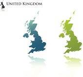 Blue and green silhouettes of the United Kingdom