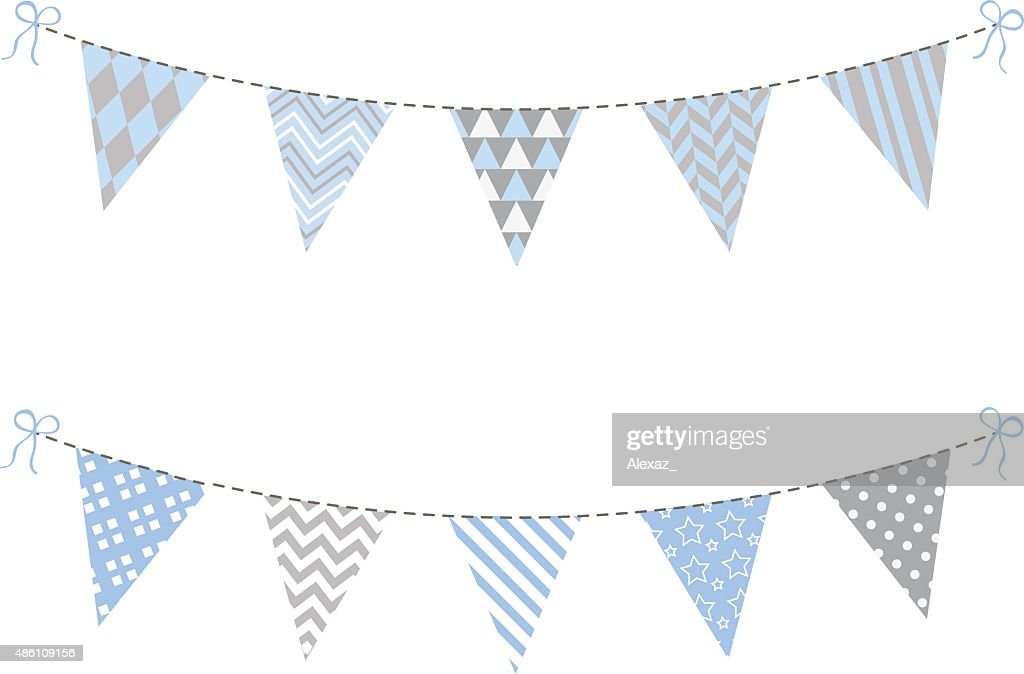 Blue and Grey Bunting Flag set