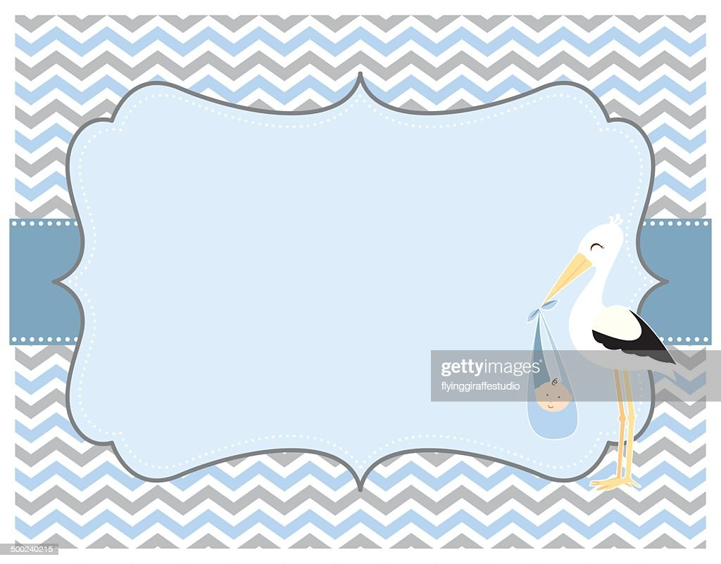 Blue And Grey Chevron Baby Boy Card With Stork stock