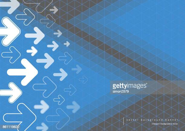 Blue and grey color background with fading white direction arrow pattern