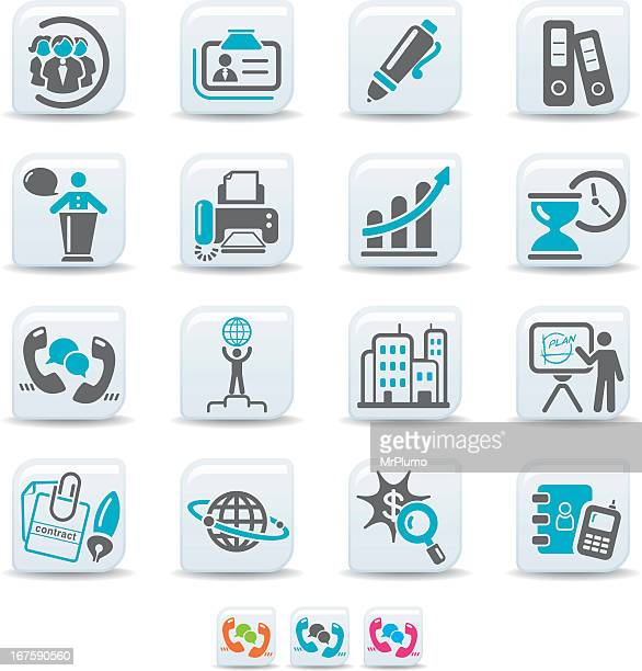 Blue and grey communication and business icon set