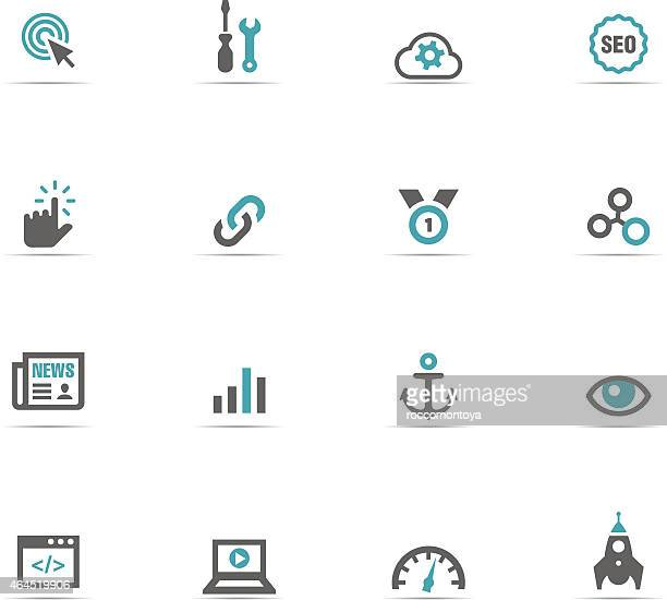 Blue and grey internet icon set