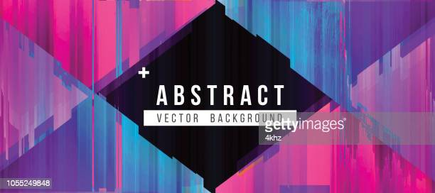 blue and magenta digital glitch abstract grunge background - synthpop stock illustrations
