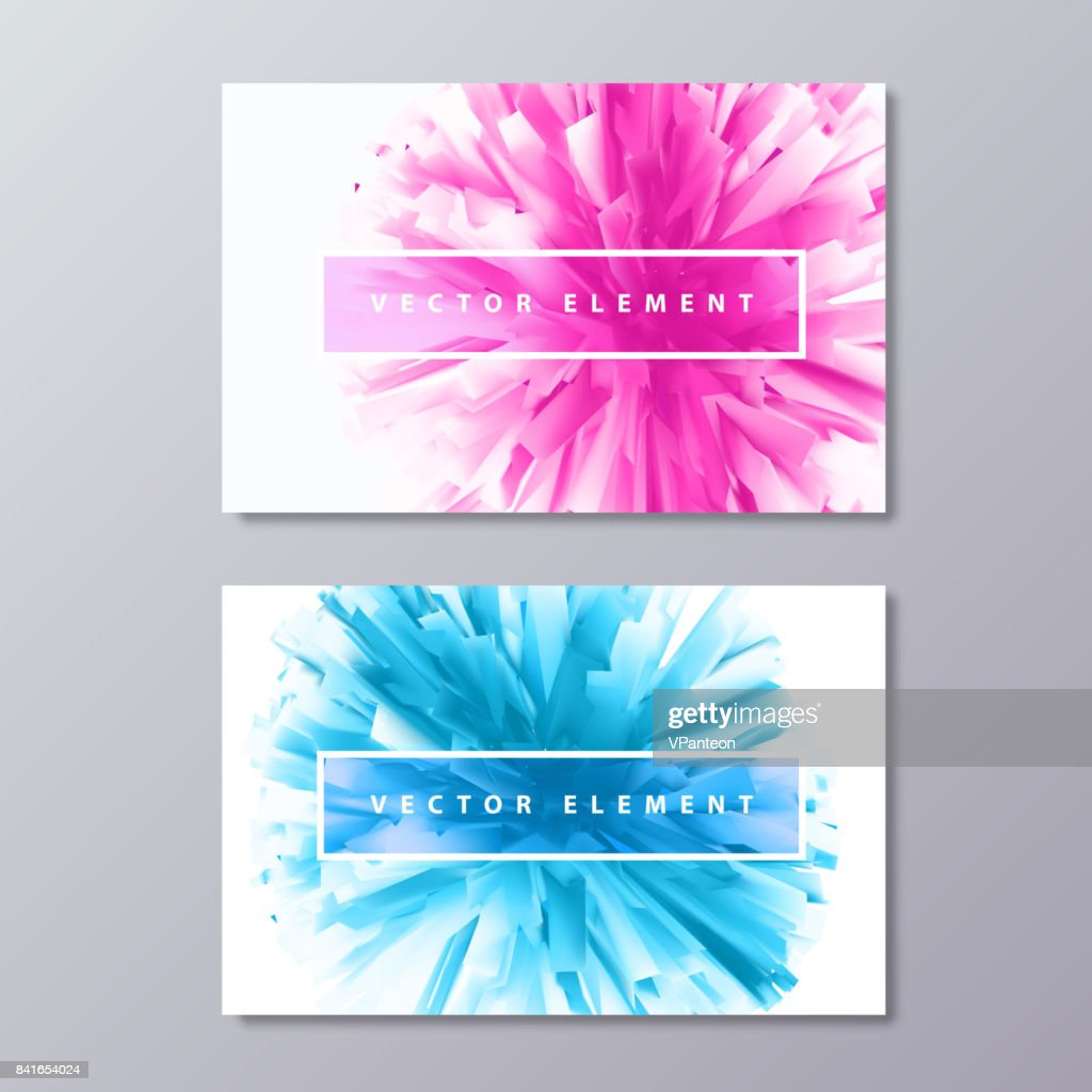 Blue and Pink abstract female design business cards.