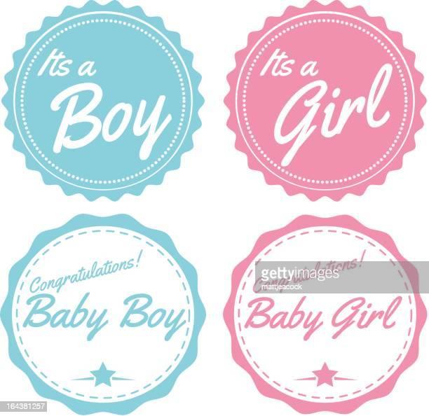 illustrazioni stock, clip art, cartoni animati e icone di tendenza di blu e rosa ragazzo e ragazza bambino etichette - rosa pallido