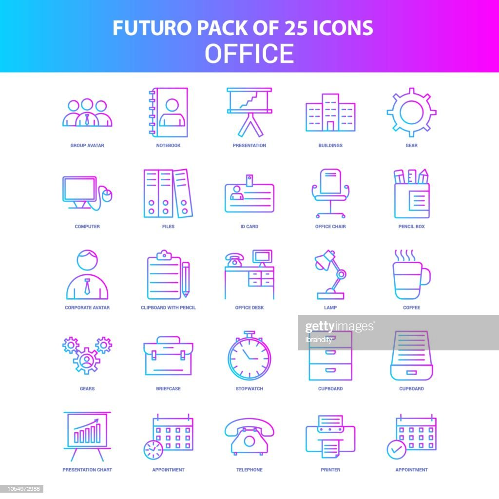 25 Blue and Pink Futuro Office Icon Pack