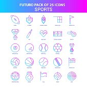 25 Blue and Pink Futuro Sports Icon Pack