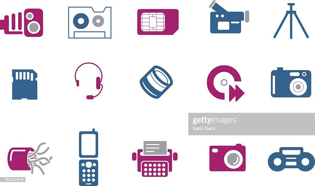 A blue and pink hi-tech icon set