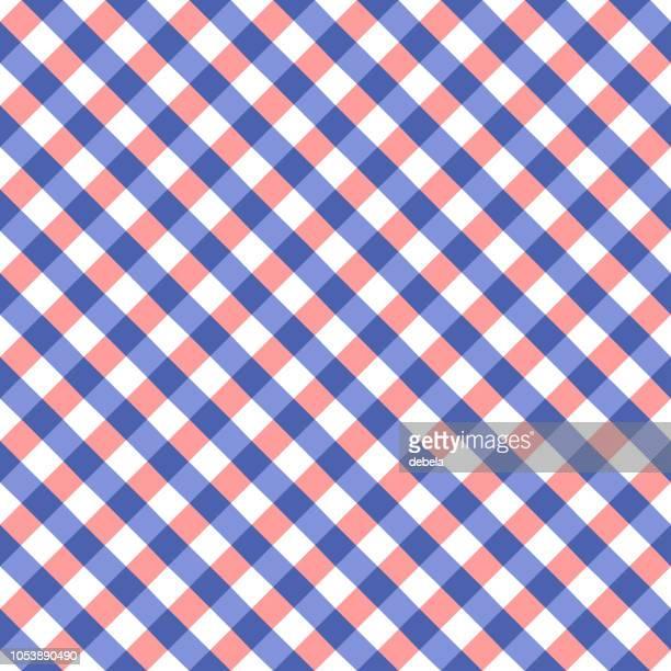 青とピンクのテーブル クロス ギンガム チェック パターン - ギンガムチェック点のイラスト素材/クリップアート素材/マンガ素材/アイコン素材